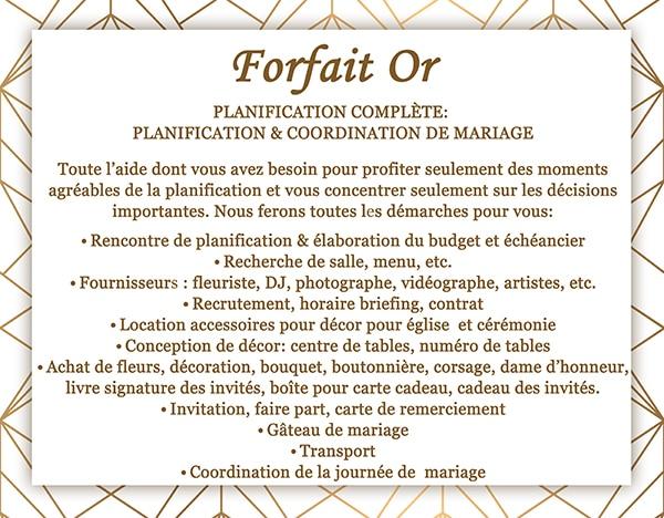 forfait planification de mariage